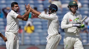 R Ashwin celebrates after dismissing Peter Handscomb