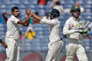 R Ashwin celebrates after dismissing Peter Handscomb, India v Australia, 1st Test, Pune, 2nd day, February 24, 2017