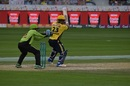 Kamran Akmal tries to slap one through the off side, Lahore Qalandars v Peshawar Zalmi, PSL 2016-17, Dubai, February 24, 2017