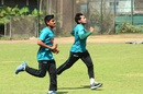 Mushfiqur Rahim and Mehedi Hasan warm up during Bangladesh's training session at the Shere Bangla National Stadium, Mirpur, February 24, 2017