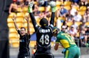 Mitchell Santner and Tom Latham appeal in unison, New Zealand v South Africa, 3rd ODI, Wellington, February 25, 2017