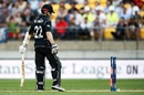 Kane Williamson looks at his broken stumps, New Zealand v South Africa, 3rd ODI, Wellington, February 25, 2017