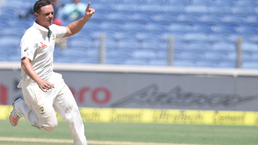 Steve O'Keefe is delighted after bowling Virat Kohli for 13