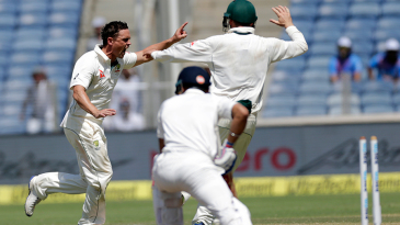Steve O'Keefe bowled Virat Kohli with a straighter delivery
