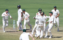 Australia exult after taking India's last wicket, India v Australia, 1st Test, Pune, 3rd day, February 25, 2017