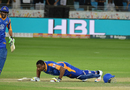 Kieron Pollard celebrates the winning runs with a set of push-ups, Karachi Kings v Lahore Qalandars, PSL 2016-17, Dubai, February 25, 2017