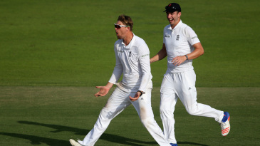 Ollie Rayner celebrates a wicket for England Lions