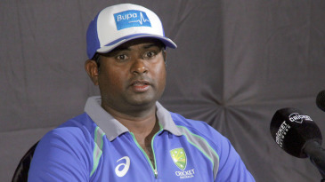 Australia spin consultant Sridharan Sriram talks during a press conference