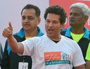 Sachin Tendulkar gestures during the New Delhi Marathon, New Delhi, February 26, 2017