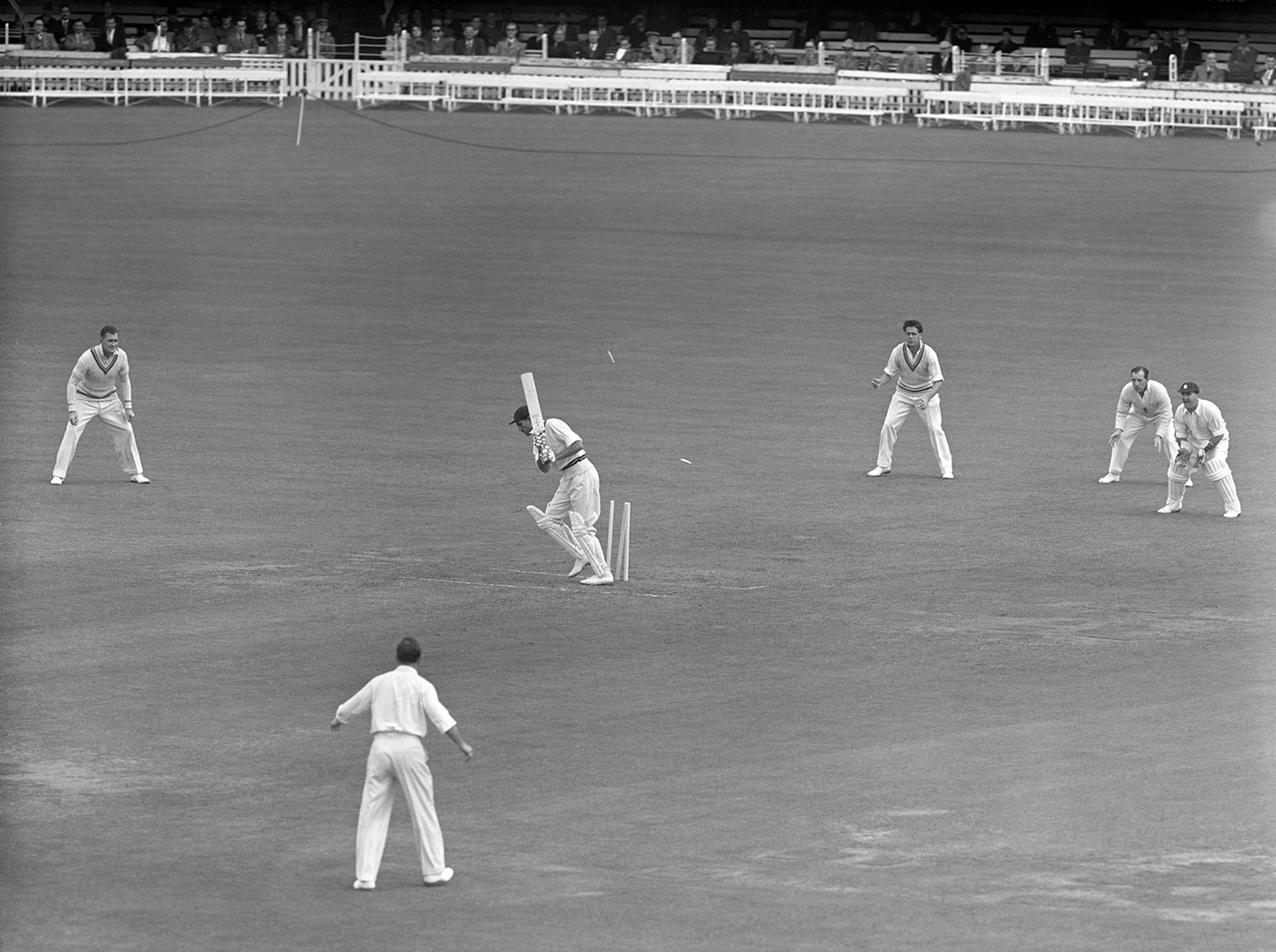Pakistan's were 87 all out at Lord's in 1954 - Khan Mohammad is bowled by Brian Statham here -but they scrapped for more than 80 overs