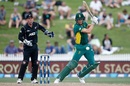 Chris Morris slaps the ball through the off side, New Zealand v South Africa, 4th ODI, Hamilton, March 1, 2017