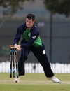 George Dockrell takes the bails off to run out Shaiman Anwar, Ireland v United Arab Emirates, 1st ODI, Dubai, March 2, 2017