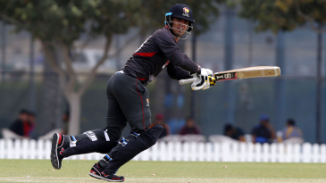 UAE captain Rohan Mustafa guides the ball down the leg side