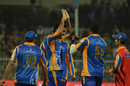 Usama Mir celebrates with this team-mates, Karachi Kings v Peshawar Zalmi, Pakistan Super League, Sharjah, February19, 2017