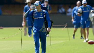 Steven Smith arrives for a practice session