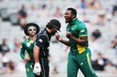 Andile Phehlukwayo is pumped up after taking a wicket, New Zealand v South Africa, 5th ODI, Auckland, March 4, 2017
