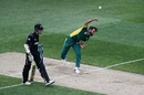 Imran Tahir is a picture of exertion as he releases the ball, New Zealand v South Africa, 5th ODI, Auckland, March 4, 2017