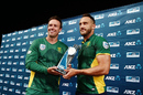 South Africa's ODI and Test captains pose with the trophy, New Zealand v South Africa, 5th ODI, Auckland, March 4, 2017