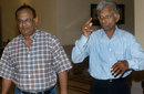 Indian spin bowlers Erapalli Prasanna (left) and Padmakar Shivalkar in Calcutta, May 30, 2003