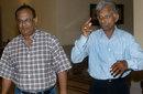 Indian spin bowlers Erapalli Prasanna (left) and Padmakar Shivalkar in Calcutta, May 30, 2003