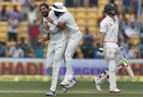 Ishant Sharma took out Mitchell Marsh with a grubber on the stroke of tea, India v Australia, 2nd Test, Bengaluru, 2nd day, March 5, 2017