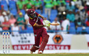 Kraigg Brathwaite lifts down the ground in a rare show of aggression, West Indies v England, 2nd ODI, Antigua, March 5, 2017