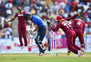Moeen Ali was bowled by Ashley Nurse for 3, West Indies v England, 2nd ODI, Antigua, March 5, 2017