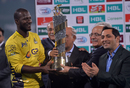 Peshawar Zalmi captain Darren Sammy accepts the PSL 2017 trophy, Peshawar Zalmi v Quetta Gladiators, PSL 2016-17, final, Lahore, March 5, 2017