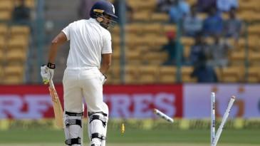 Karun Nair's stumps were broken off the first ball he faced