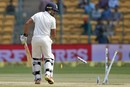 Karun Nair's stumps were broken off the first ball he faced, India v Australia, 2nd Test, Bengaluru, 4th day, March 7, 2017