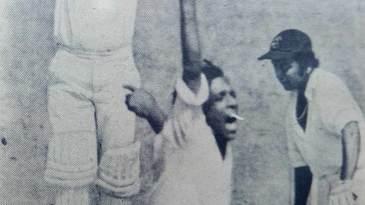 Rajinder Goel celebrates the wicket of Gundappa Viswanath