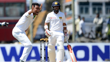 Subashis Roy appeals for the wicket of Kusal Mendis