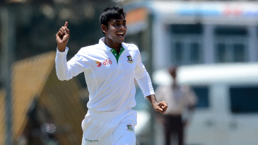 Mehedi Hasan Miraz had Dimuth Karunaratne chopping on to his stumps for 30