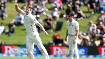 James Neesham exults after dismissing Faf du Plessis
