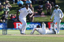 Kane Williamson put in a dive to make it in time, New Zealand v South Africa, 1st Test, Dunedin, 2nd day, March 9, 2017
