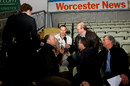 Simon Jones talks to reporters, New Road, Worcester, April 14, 2009