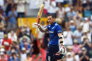 Alex Hales acknowledges his fifth ODI hundred, West Indies v England, 3rd ODI, Barbados, March 9, 2017