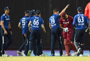Chris Woakes claimed his third wicket as Ashley Nurse departed, West Indies v England, 3rd ODI, Barbados, March 9, 2017