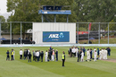 Players from both teams were evacuated on to the field during the fire alarm, New Zealand v South Africa, 1st Test, Dunedin, 3rd day, March 10, 2017