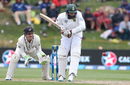 Hashim Amla is watchful as he gets in line to play a ball, New Zealand v South Africa, 1st Test, Dunedin, 3rd day, March 10, 2017
