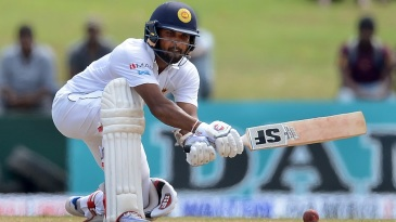 Dinesh Chandimal attempts a reverse sweep