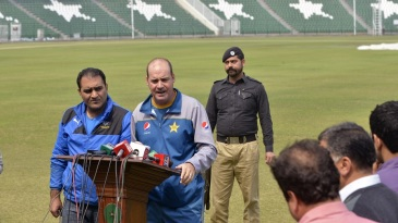 Pakistan coach Mickey Arthur addresses reporters in Lahore
