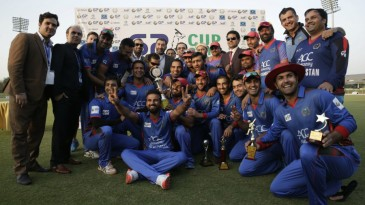 The Afghanistan players celebrate their T20 series whitewash