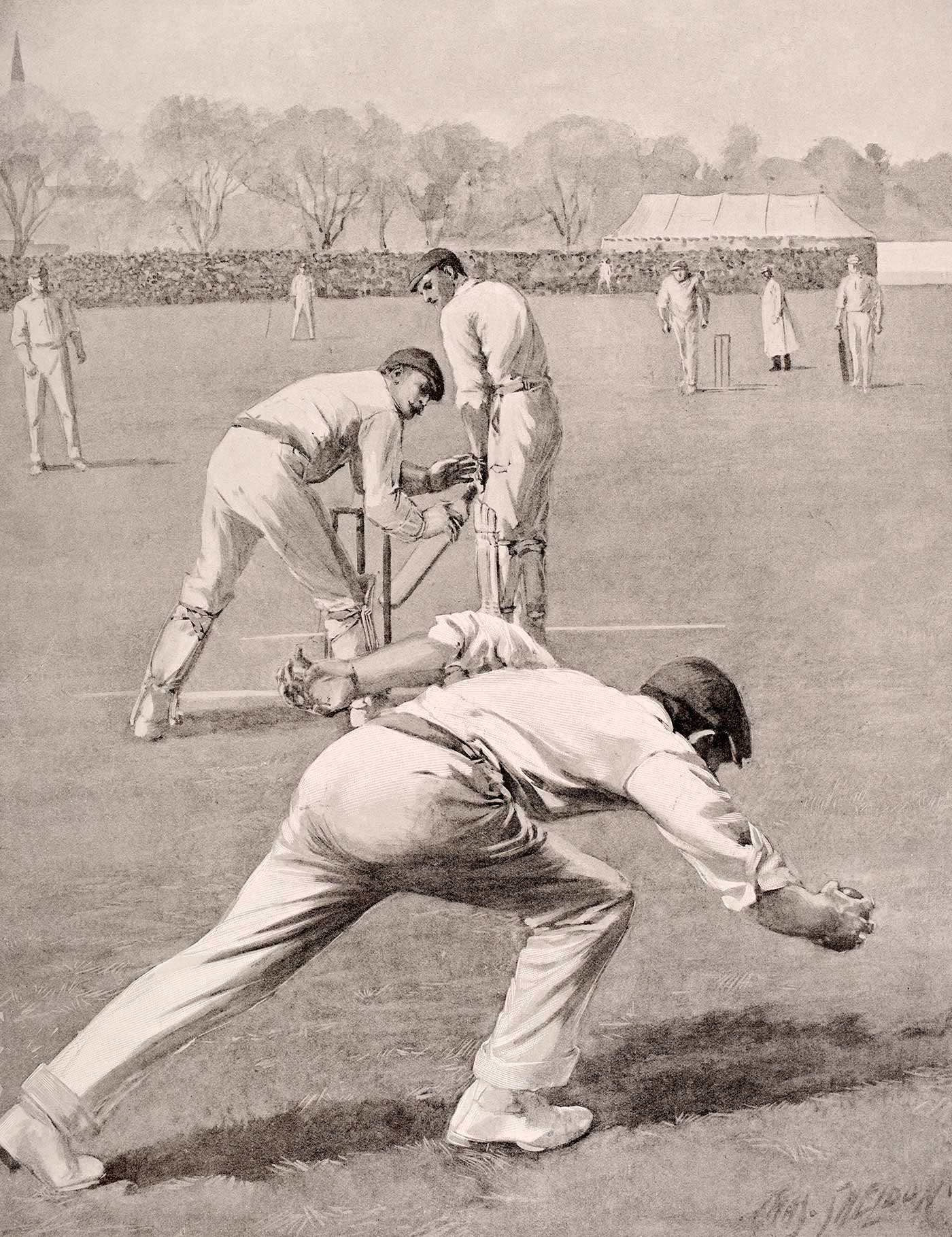 The classic painting of Len Braund catching Clem Hill that appeard in <i>Black & White</i> on July 7, 1902