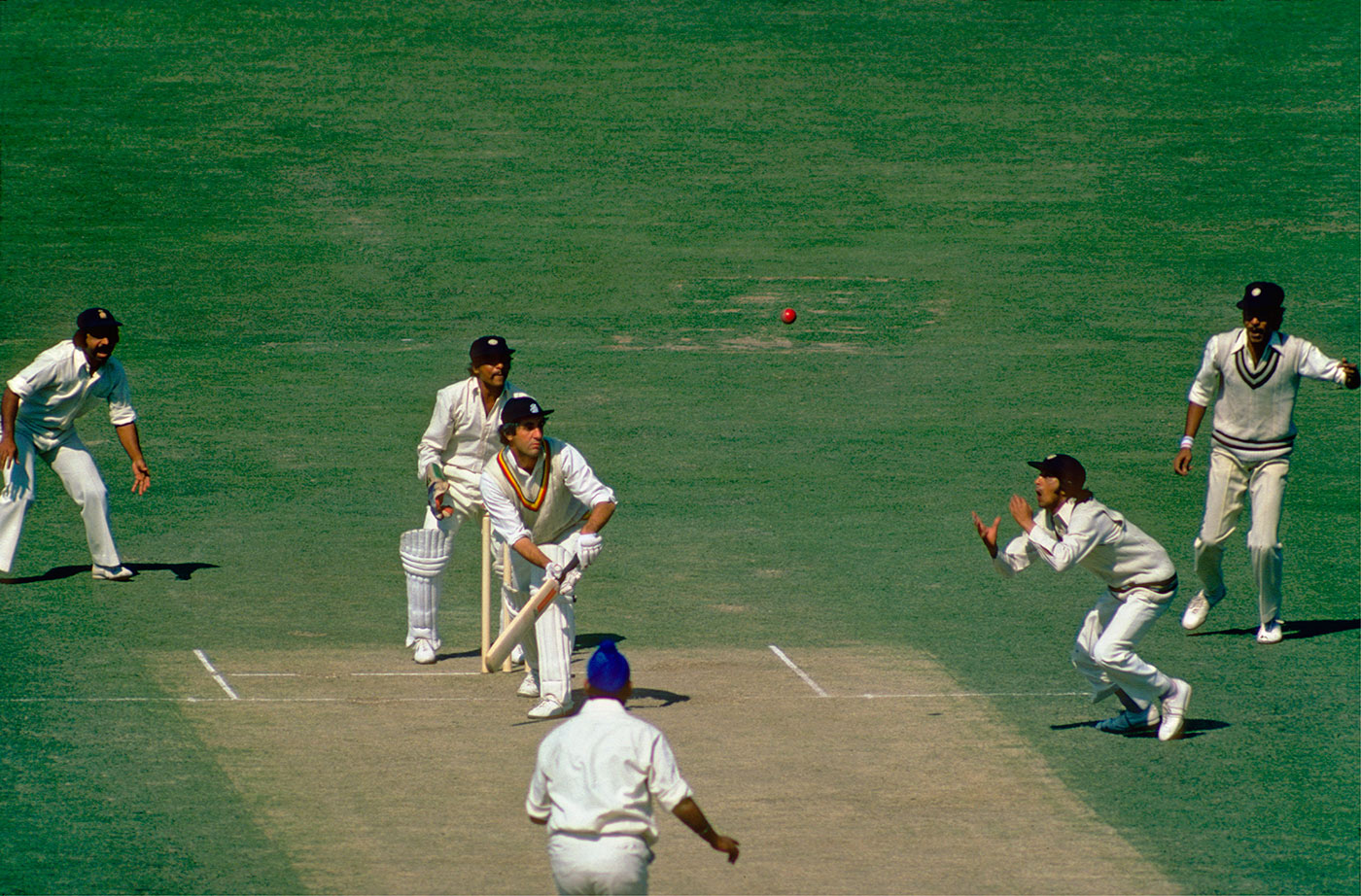 Eknath Solkar takes a yawn-inducingly easy one off Mike Brearley in the 1977 Calcutta Test