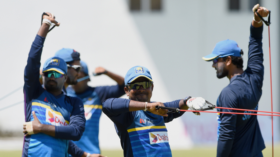 The Sri Lanka players at a training session ahead of the second Test against Bangladesh