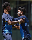 Lakshan Sandakan shares a laugh with Kusal Mendis during a training session, Colombo, March 13, 2017