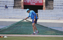 India coach Anil Kumble takes a look at the Ranchi pitch during a training session, Ranchi, March 14, 2017