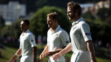 Kane Williamson walks off the field after the anthems