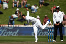 Keshav Maharaj bowls, New Zealand v South Africa, 2nd Test, Wellington, 1st day, March 16, 2017